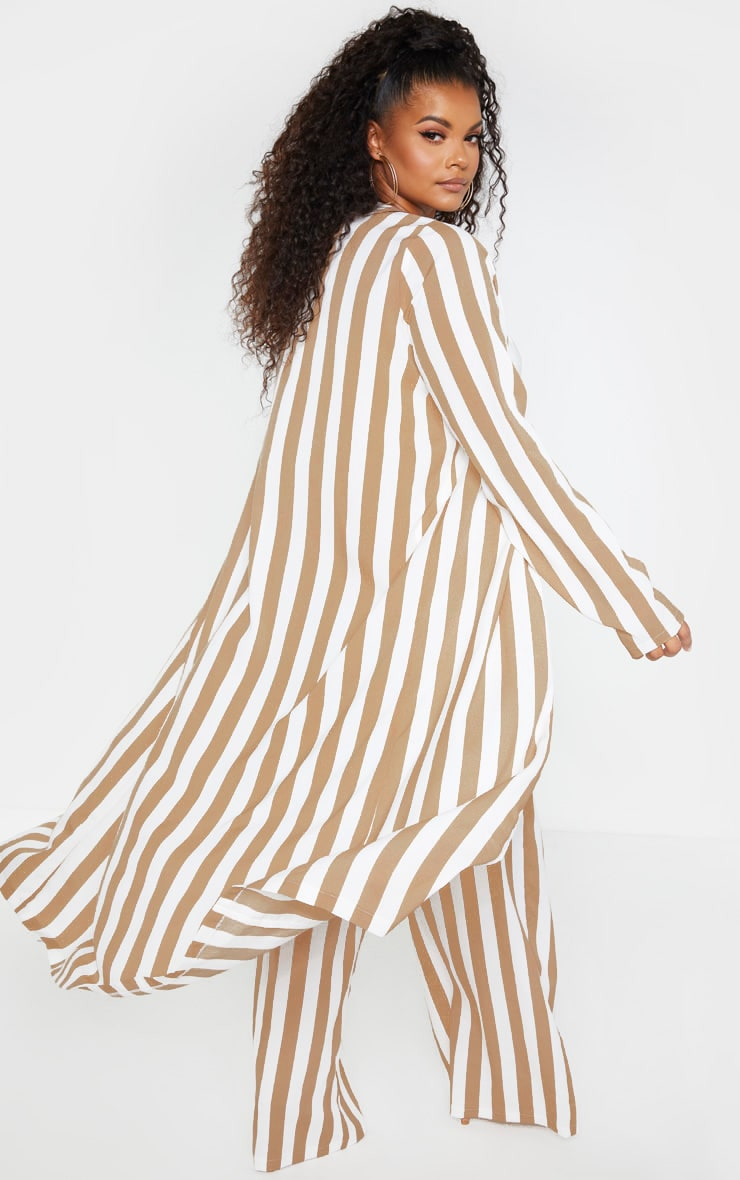 Plus Stone Striped Longline Duster Jacket 2