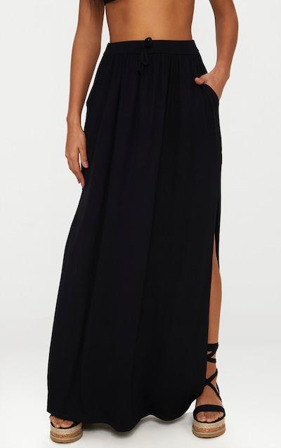 Black Jersey Drawstring Maxi Skirt
