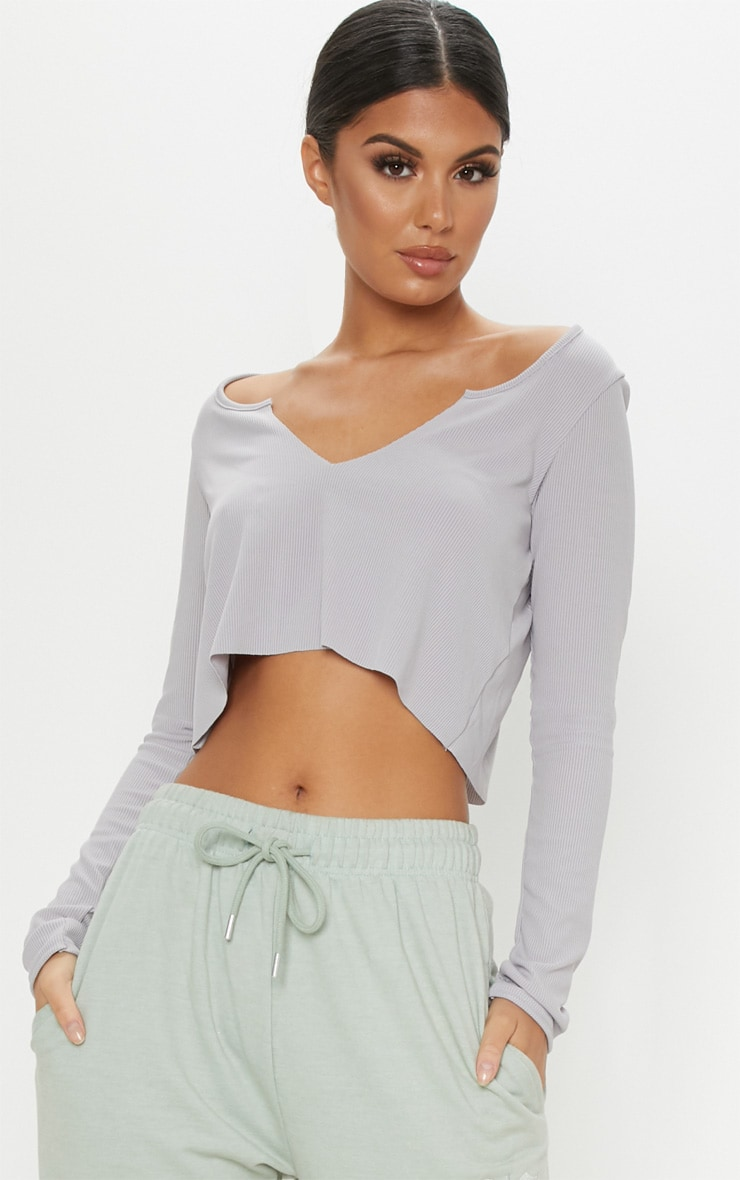 Space Grey Rib V Hem Long Sleeve Crop Top 1