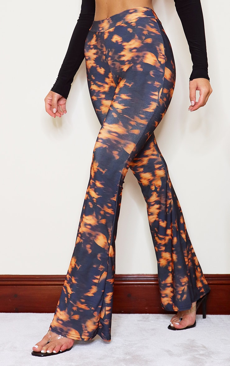 Orange Floral Slinky Tie Dye Flared Pants 2