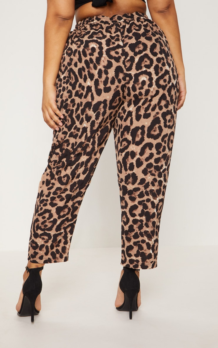 Plus Tan  Leopard Print Casual Pants  4