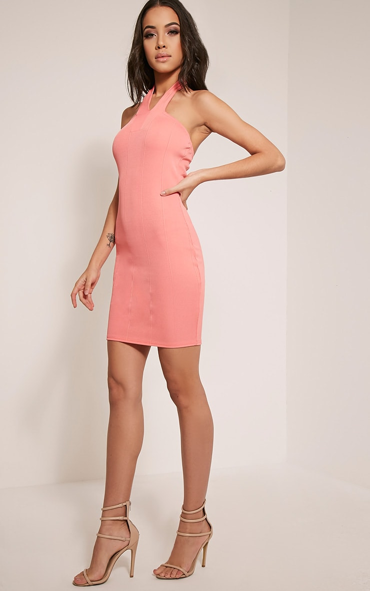 Chessie Coral Halterneck Bandage Bodycon Dress 5