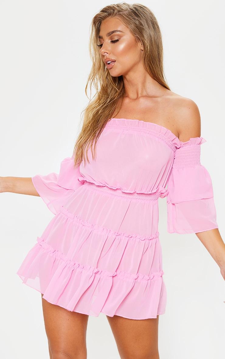 Pink Ruffle Tiered Off Shoulder Beach Dress 1