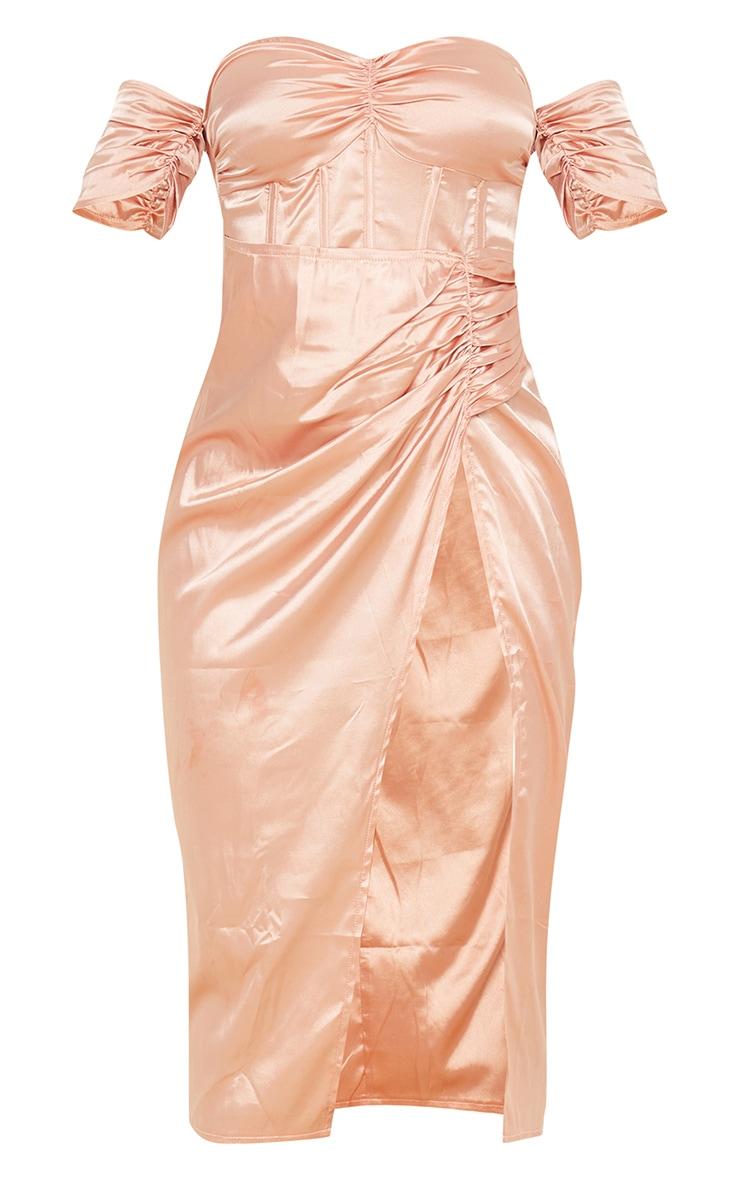 Peach Satin Corset Bardot Thigh Split Midi 5