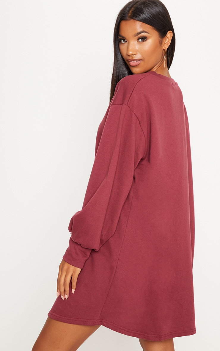 Sianna Burgundy Oversized Sweater Dress 2