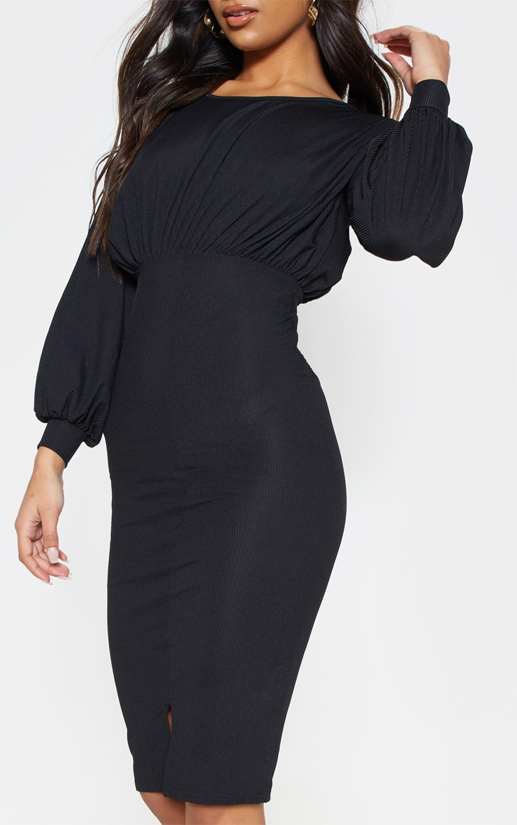 Black Rib Balloon Sleeve Midi Dress 5