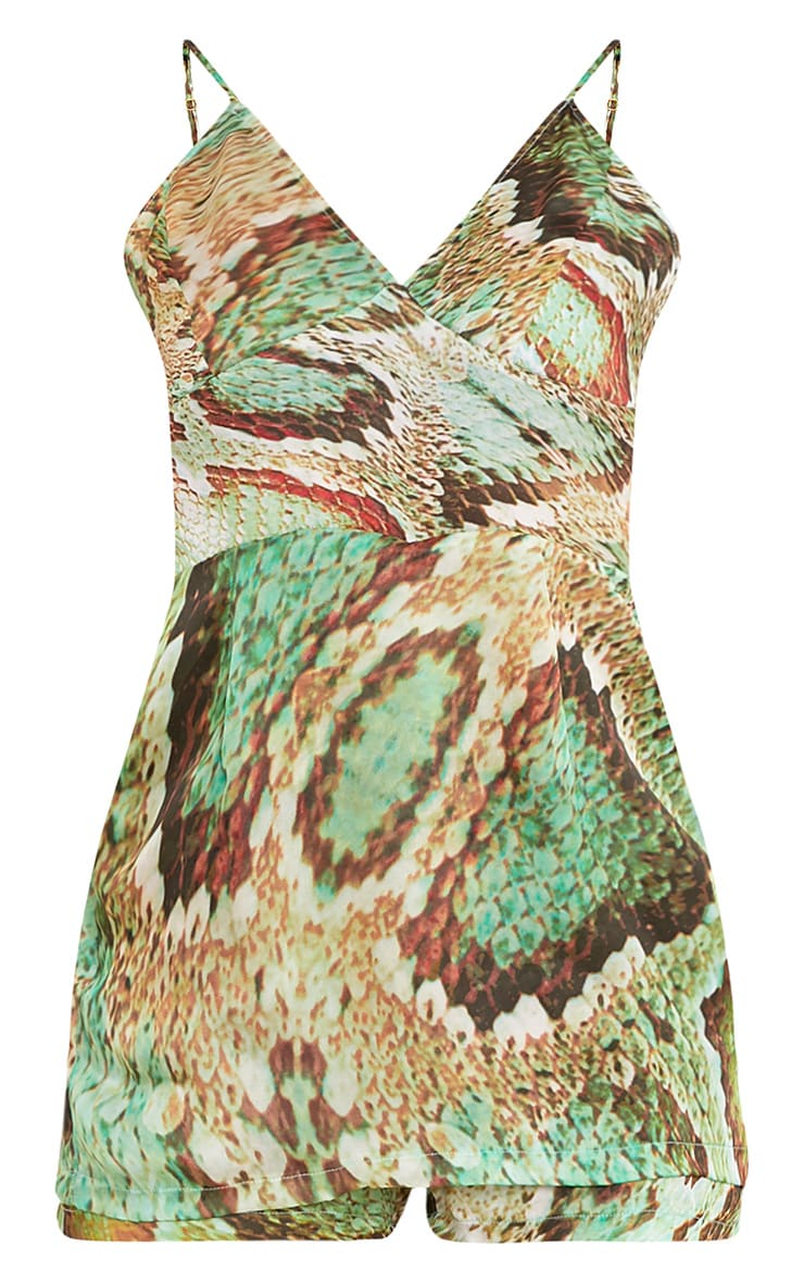 Kyla Green Snake Print Skort Satin Playsuit 3