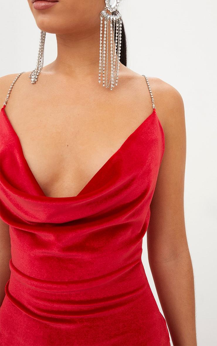 Red Velvet Cowl Neck Diamante Strap Bodycon Dress 5