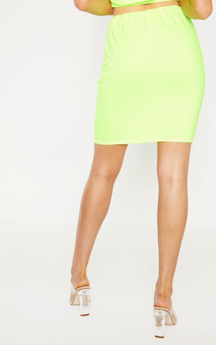 Tall - Jupe moulante en sweat vert citron fluo à cordons 4