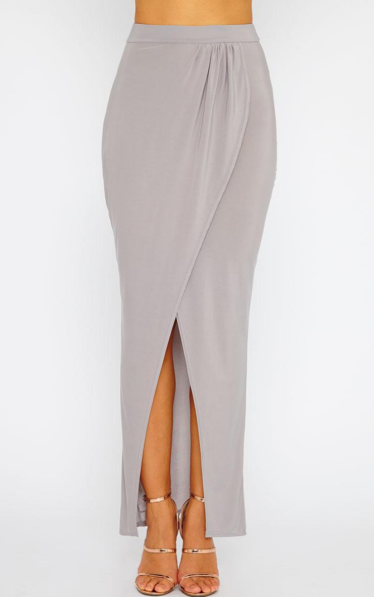 Ginevia Grey Slinky Split Hem Maxi Skirt 4