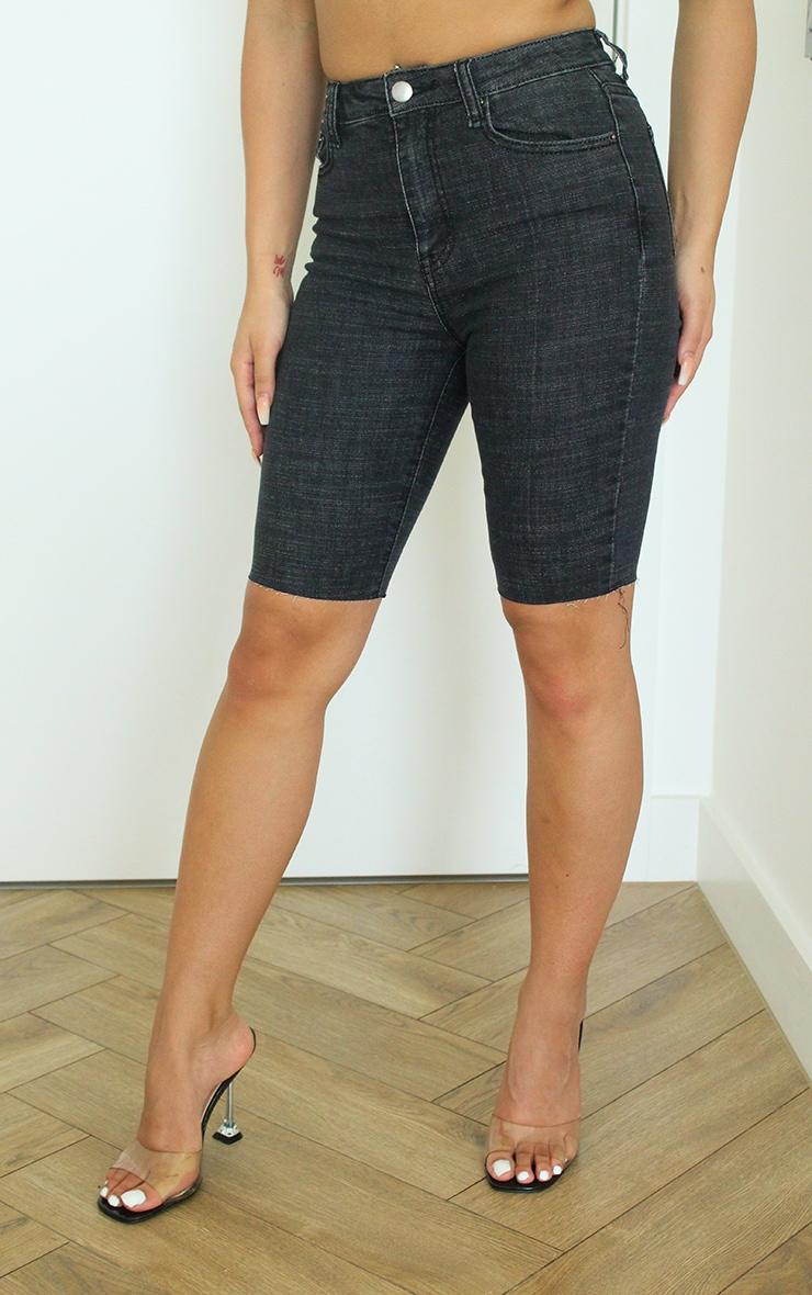 Washed Black Denim Bike Shorts 2