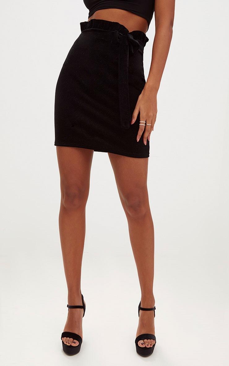 Black Velvet Sparkle Flock Wrap Mini Skirt 2