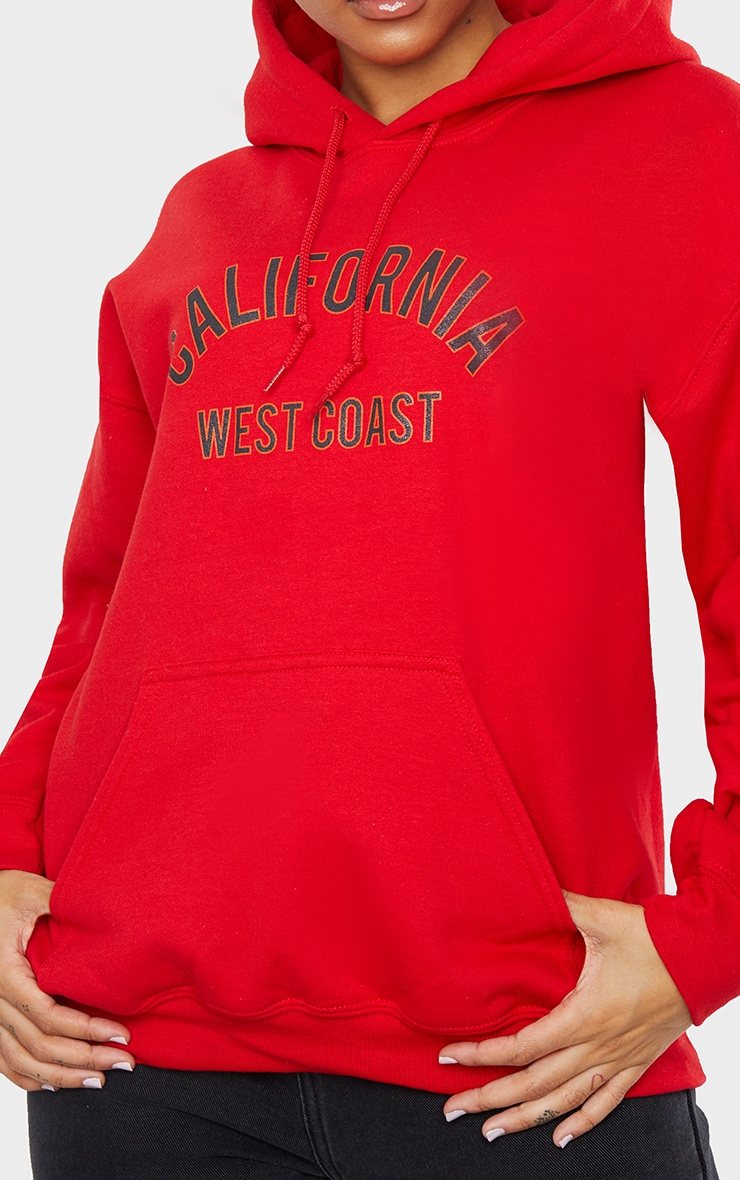 Red Oversized California Slogan Hoodie 4