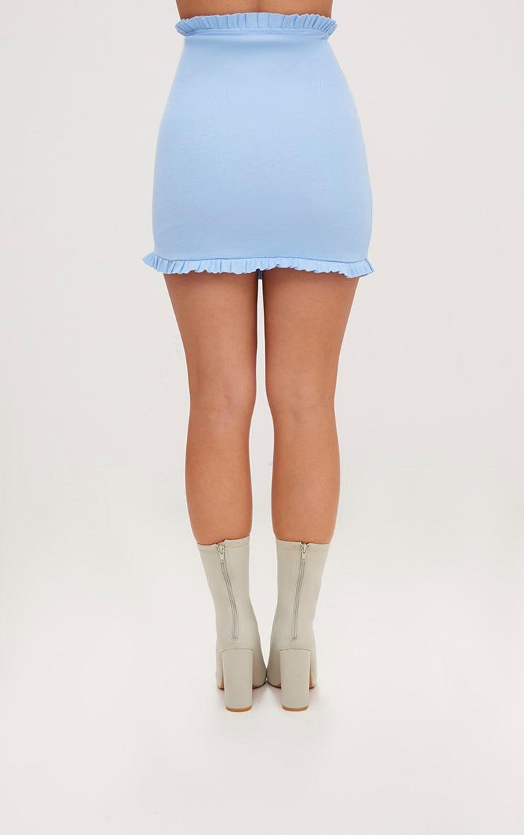 Dusty Blue Frill Trim Ribbed Mini Skirt  3