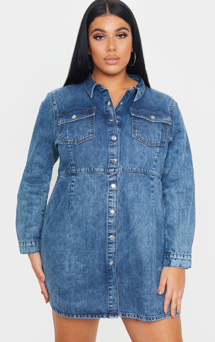 Plus Mid Wash Denim Button Front Shirt Dress 1