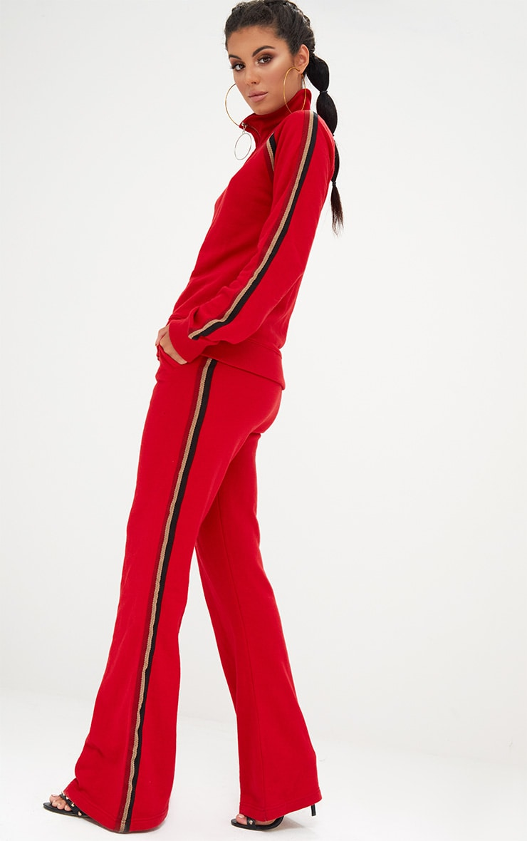Red Flared Track Pants  2
