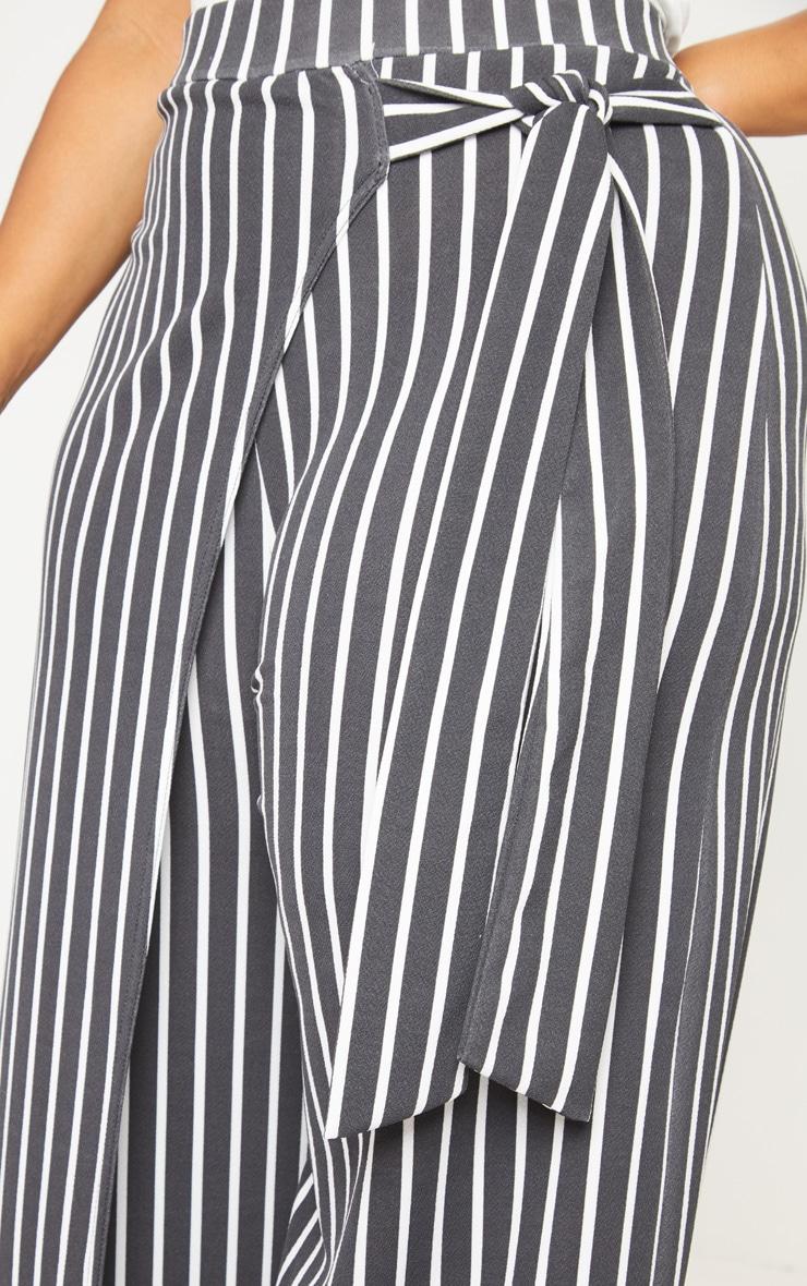 Plus Black Striped Wrap Detail Extreme Wide Leg Pants 5