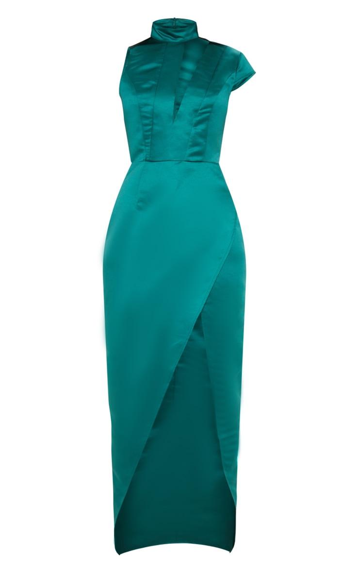 Emerald Green Satin Drape Detail Wrap Maxi Dress 3