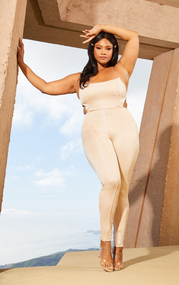 Plus Nude Second Skin Cut Out Side Jumpsuit 1