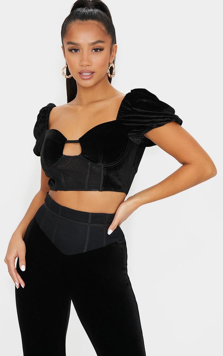 Petite Black Velvet Mesh Corset Detail Puff Sleeve Crop Top 1