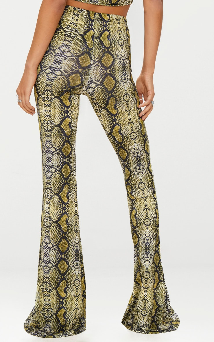 Green Snakeskin Flared Trousers 3