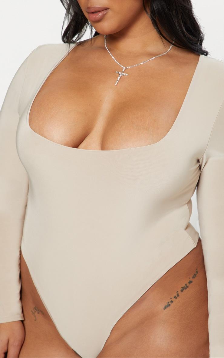 Plus Stone Second Skin Square Neck Thong Bodysuit 5
