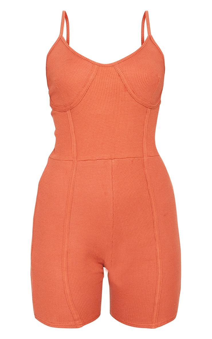 Rust Cotton Waffle Cup Detail Unitard 5