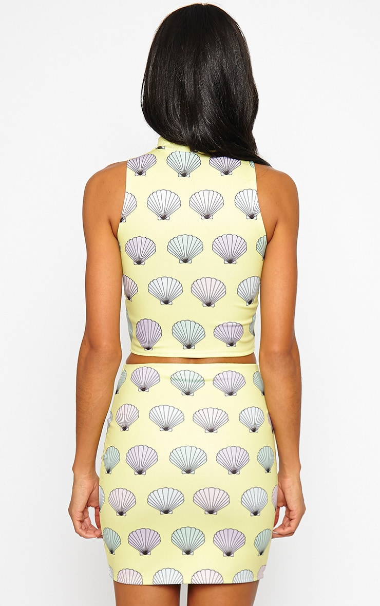 Alexis Yellow Shell Print Crop Top 3