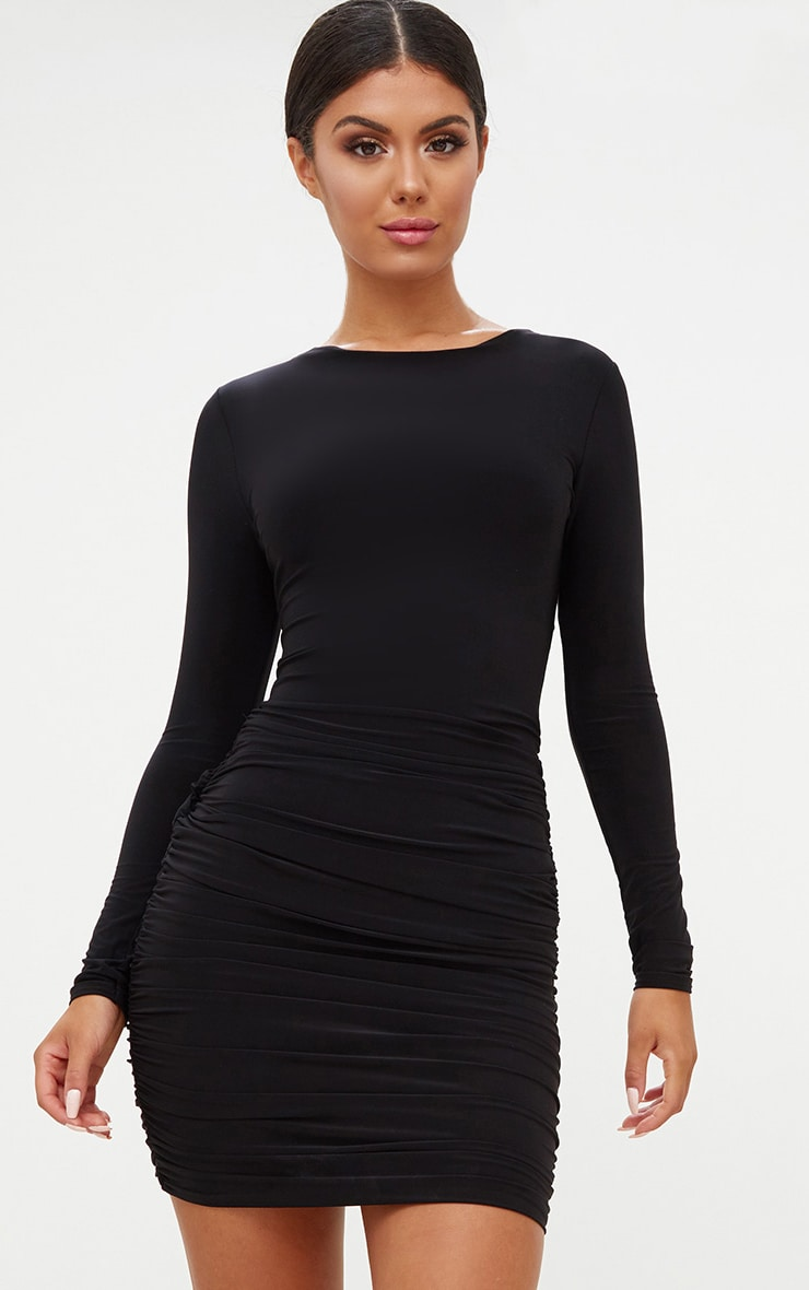 f43585888da7 Black Long Sleeve Ruched Open Back Bodycon Dress. Dresses ...