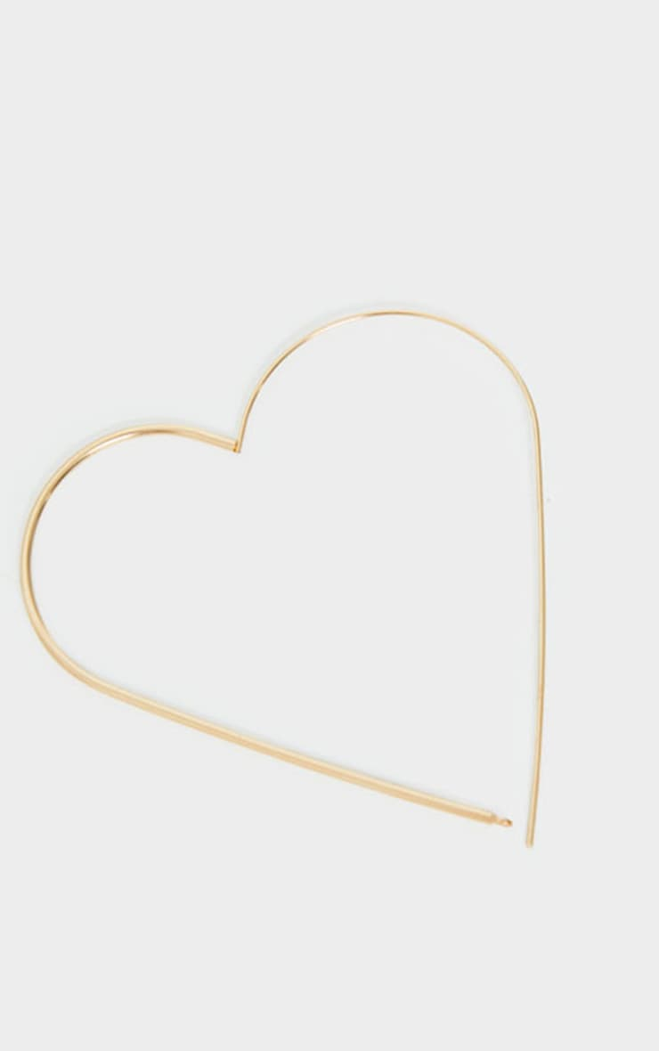 Gold Heart Oversized Hoop Earrings 3