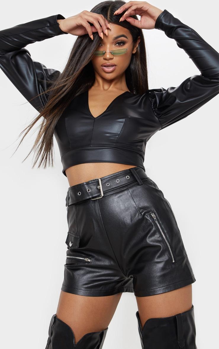 Black Faux Leather Biker Short