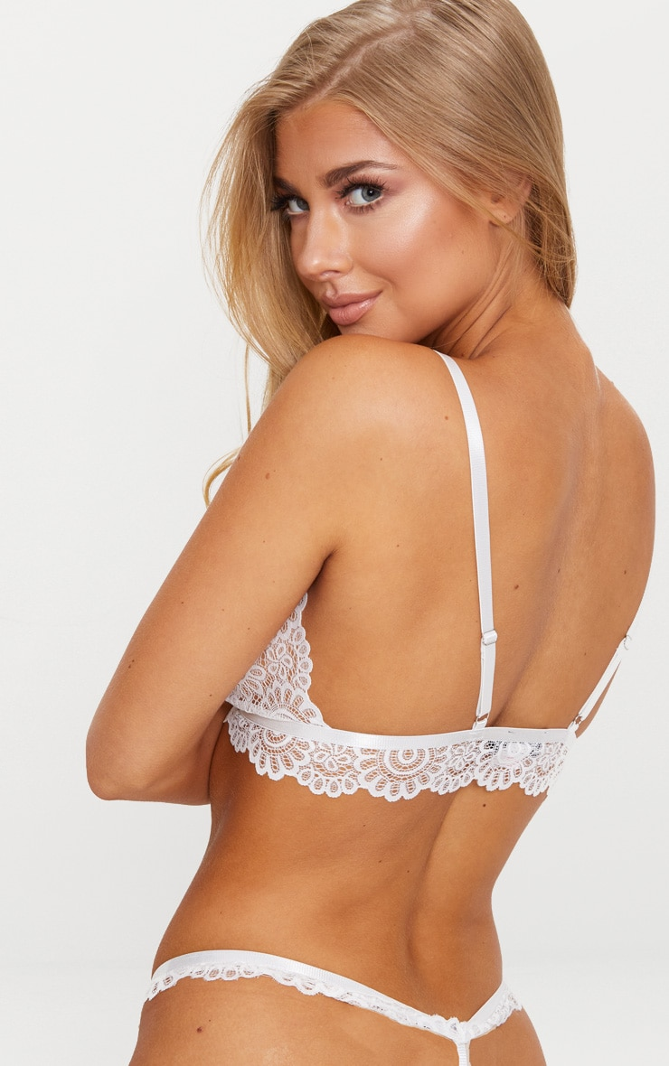 White Daisy Lace Harness Front Hook Bra 3