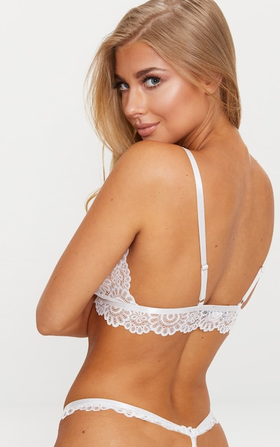 White Daisy Lace Harness Front Hook Bra