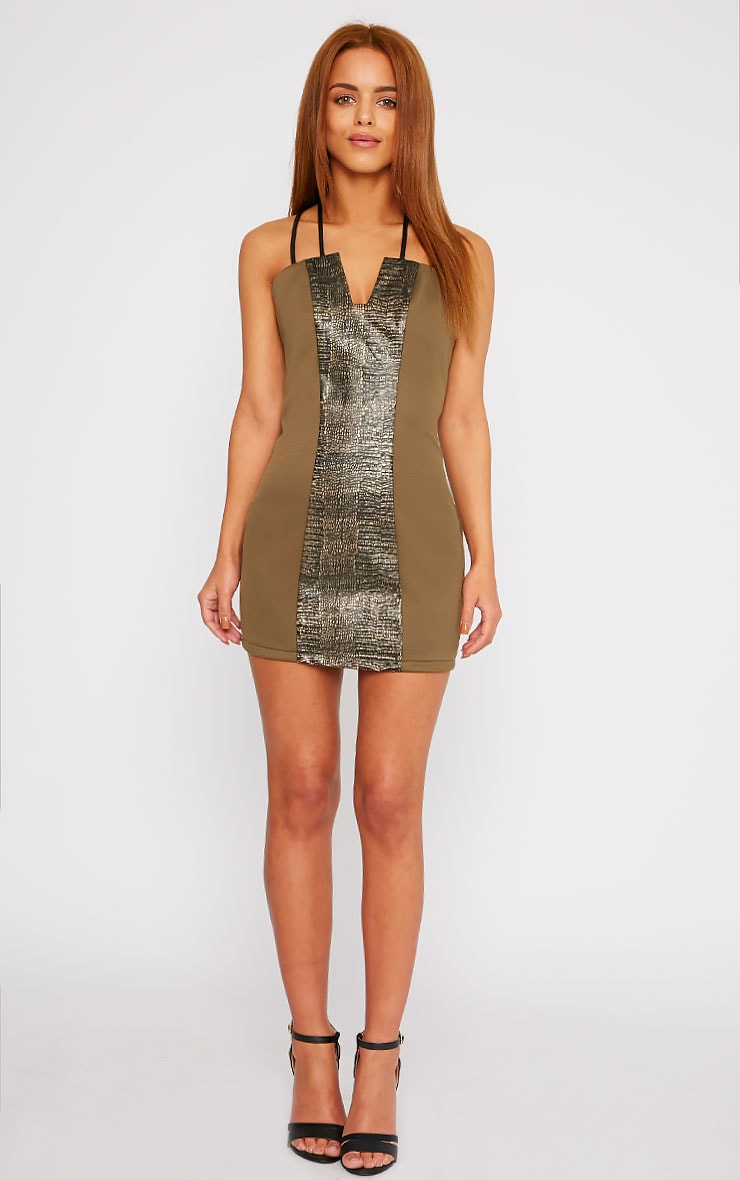 Jessie Khaki PU Croc Panel Mini Dress 3