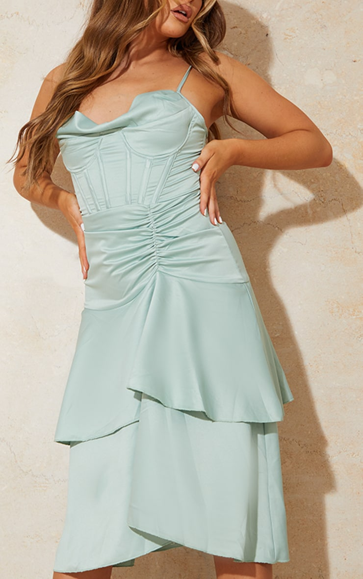 Sage Green Satin Corset Cowl Strappy Midi Dress 4