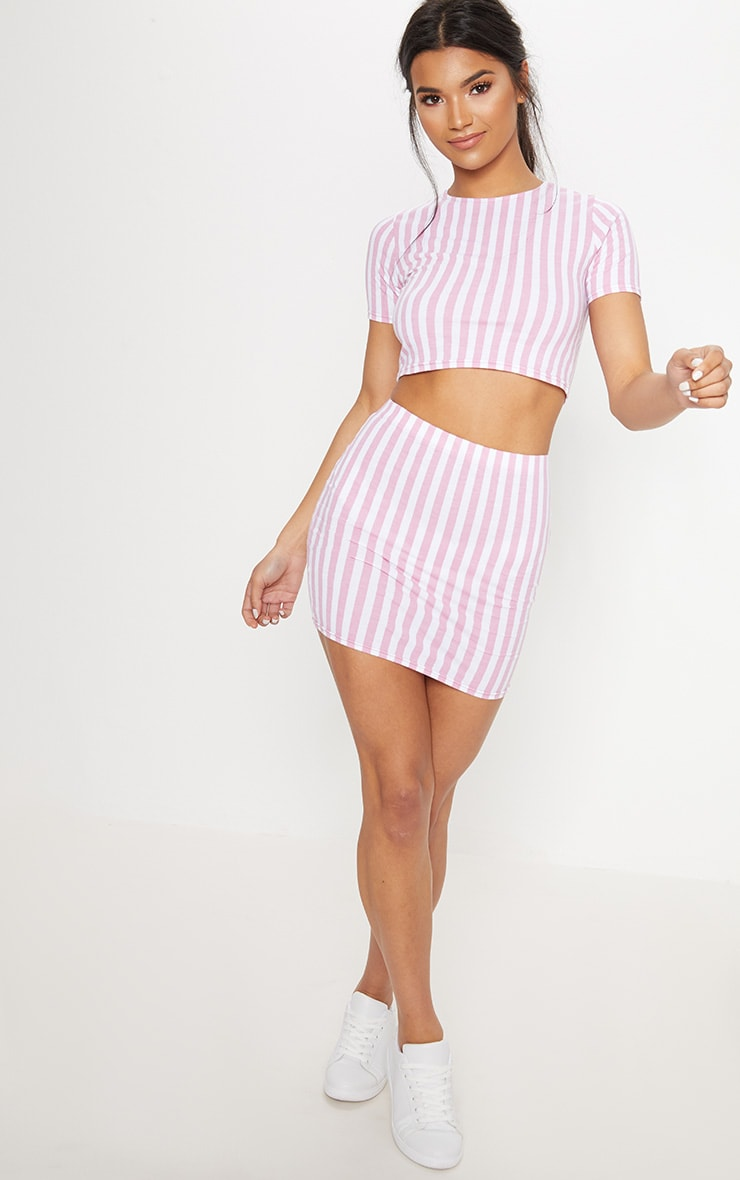 Pink Jersey Stripe Mini Skirt 5
