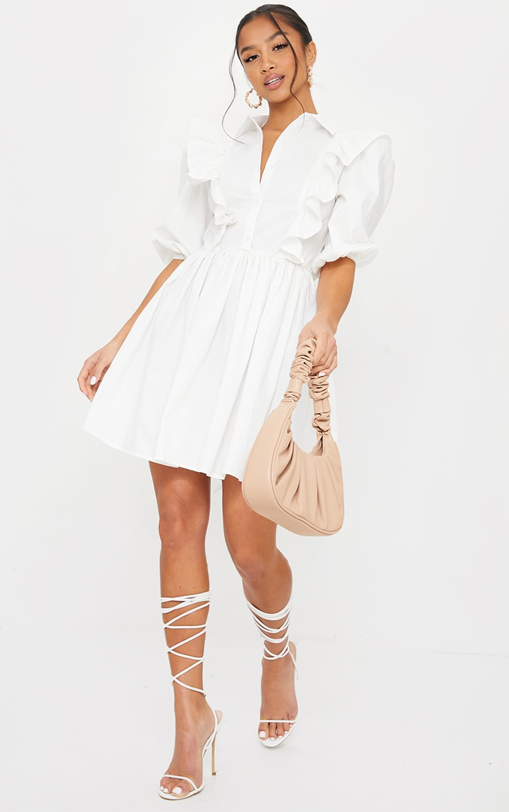 Petite White Ruffle Detail Shirt Dress 3