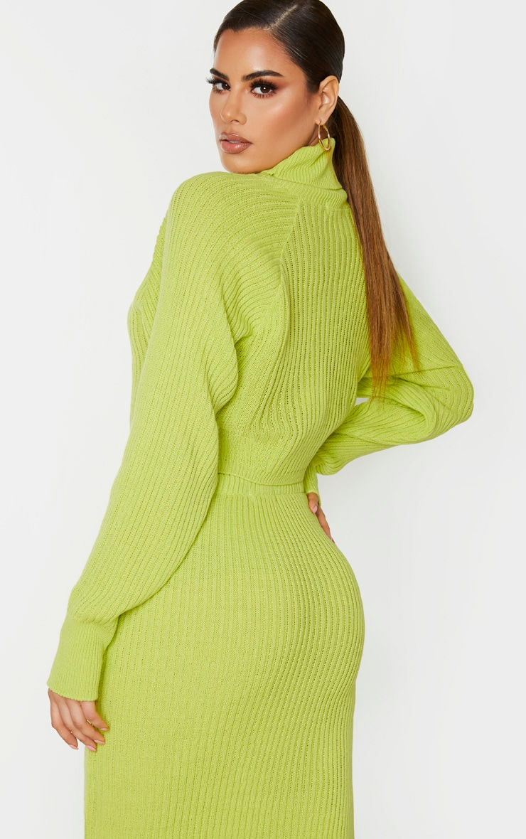 Tall Neon Green Roll Neck Cropped Knitted Jumper 2
