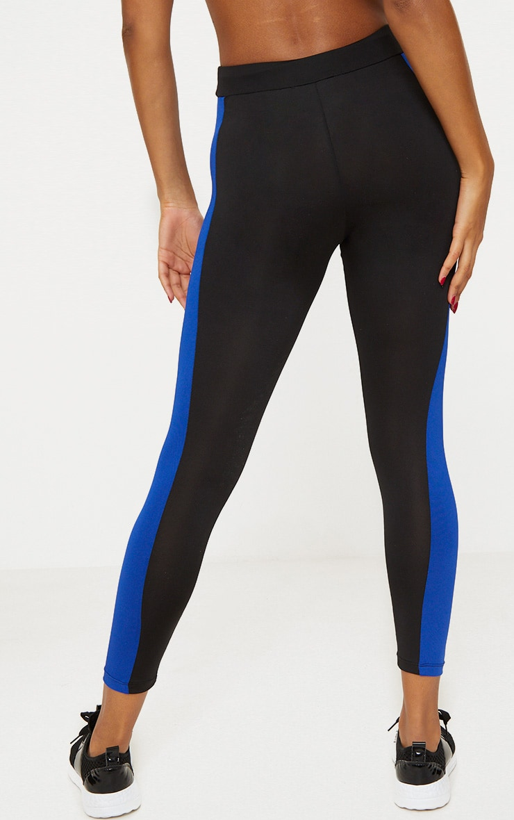 Black Panelled Contrast Sports Leggings 4