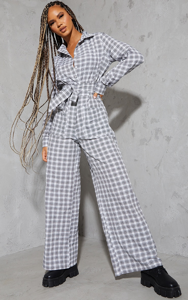 Cream Check Tie Waist Pocket Detail Shirt Jumpsuit 1