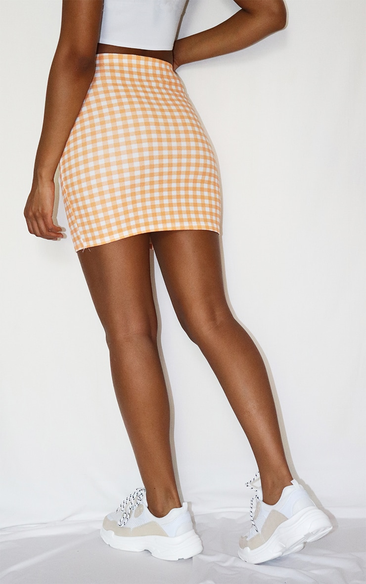 Orange Gingham Mini Skirt 3
