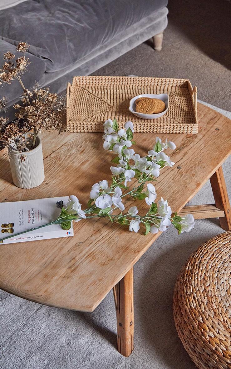 White Silk Bowing Cherry Blossom Stem Artificial Flower 3