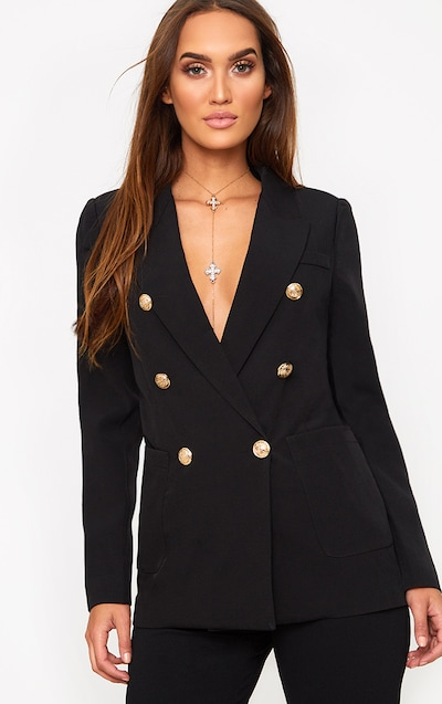 fcde8b4782 Black Double Breasted Military Style Blazer