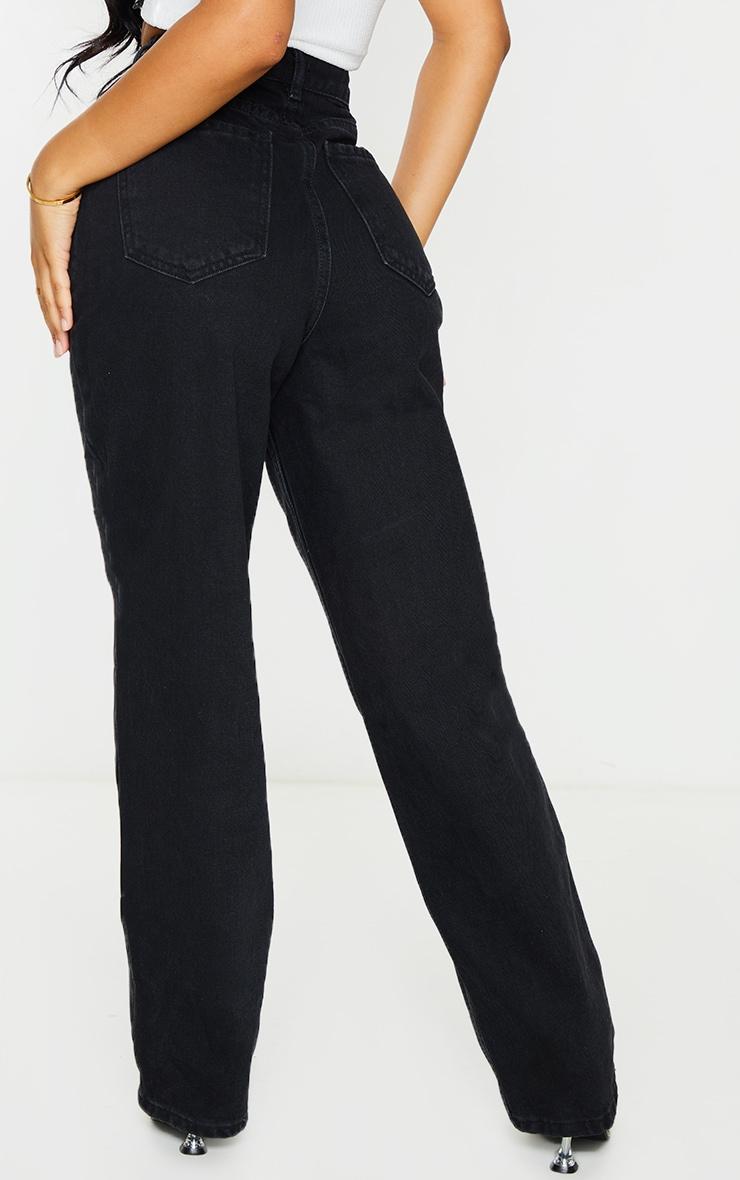 Petite Washed Black Seam Detail Wide Leg Jeans 3