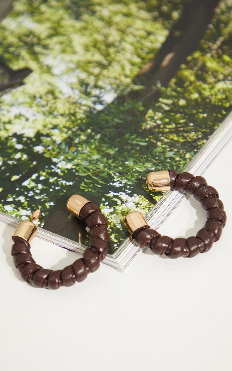 Brown And Gold Twist PU Hoop Earrings 2
