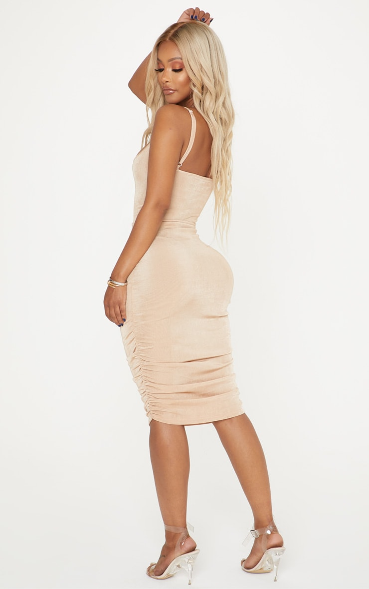 Shape Stone Slinky Ribbed Ruched Bodycon Dress 2