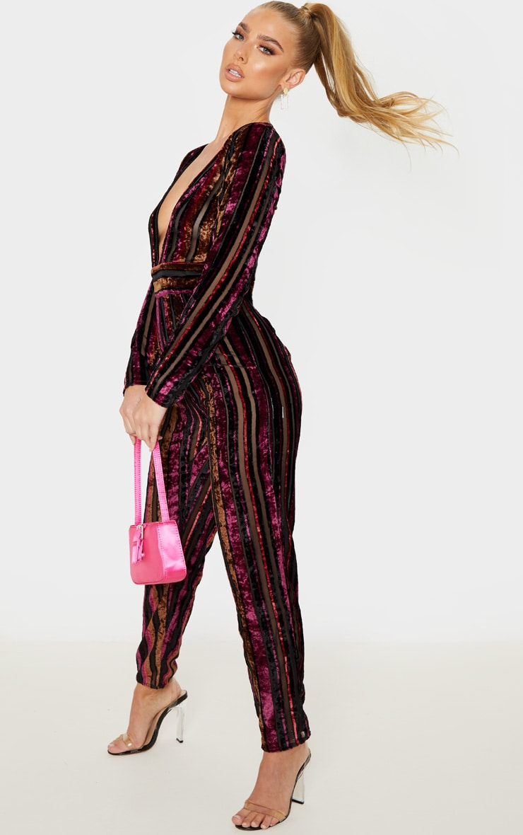 Burgundy Velvet Stripe Long Sleeve Plunge Jumpsuit 4