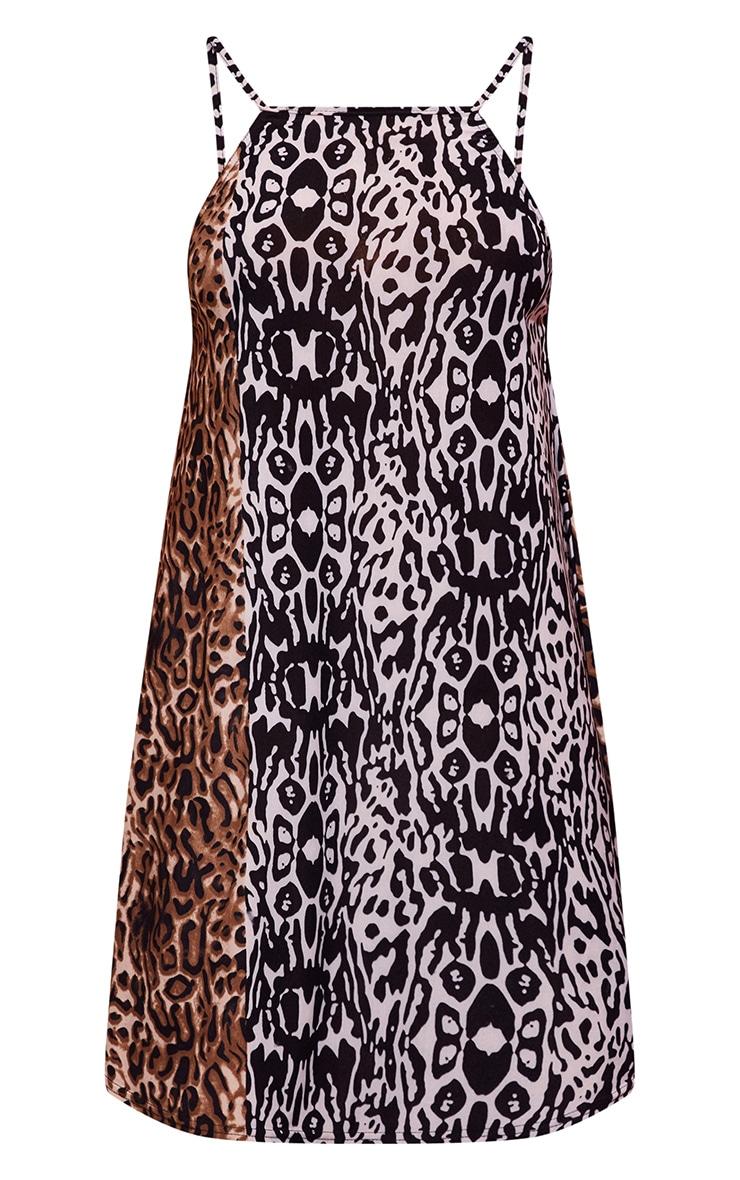 Black Leopard Print 90s Neck Strappy Smock Dress 3