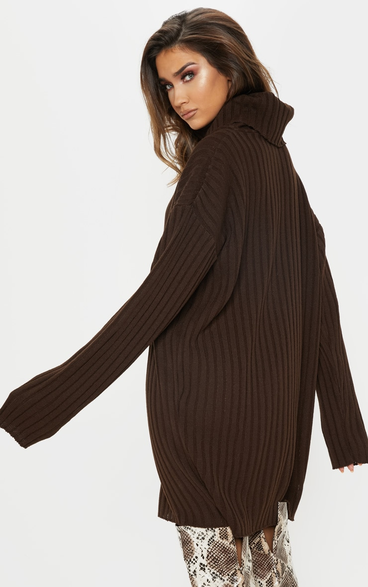 Brown High Neck Ribbed Knitted Dress  2