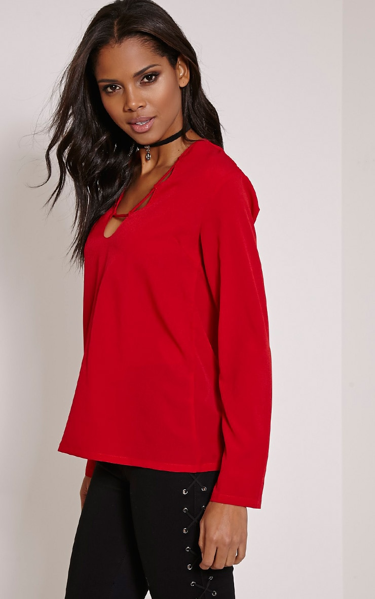 Remie Red Lace Up Floaty Blouse 4